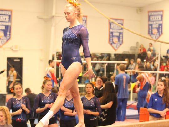 Central High School senior Skyler McCowen won the all-around title (37.70) and was first on balance beam (9.45) and vault (9.50) in the final home meet of her career at the James R. White Gymnastics Center on Thursday, March 1, 2018. The Lady Cats won the team title against district foes Odessa Permian and Odessa High.