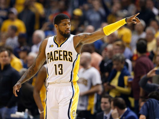 Indiana Pacers forward Paul George (13) points during