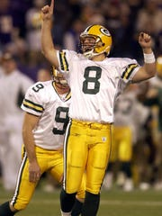 Ryan Longwell celebrates his game-winning field goal against the Vikings in 2004.