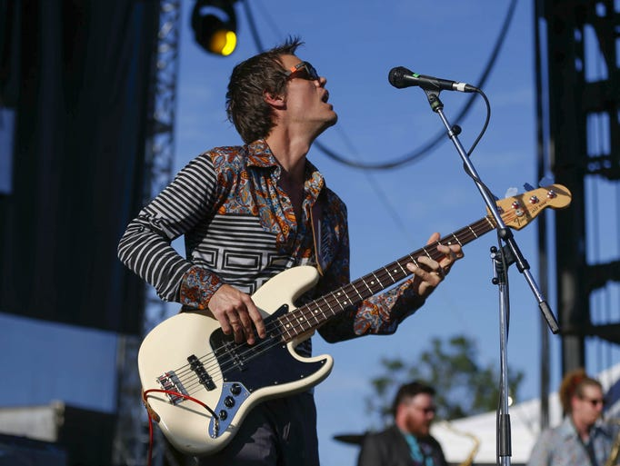 Houndmouth bassist Zak Appleby performs during Hinterland