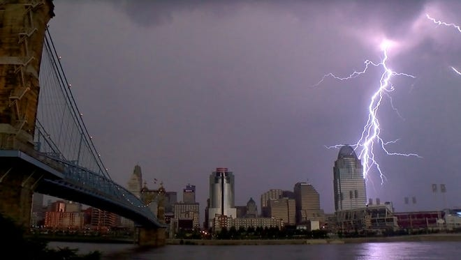 The view of the Cincinnati skyline during a storm.