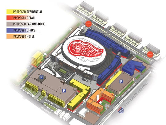 A rendering of the Arena Area Conceptual Master plan from Olympia Development.