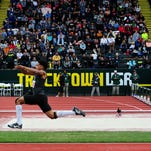 West Salem's Tristan James wins his third consecutive triple jump during the OSAA 6A Track & Field Championships inside Hayward Field at the University of Oregon, on Saturday, May 23, 2015, in Eugene.