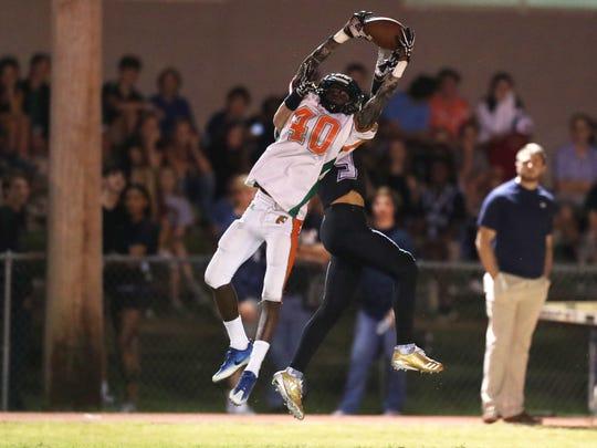 FAMU DRS' Isaac Wilson defends a pass against Maclay during their game at Maclay school on Friday, Oct. 20, 2017.
