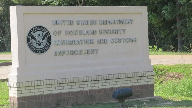 This is a Department of Homeland Security sign on the grounds of the federal prison near the Oakdale Immigration Court.