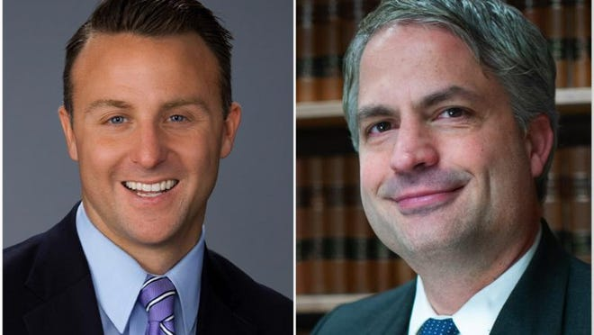 J. Hanley, left, a Republican, and Paul Carpenter, a Democrat, are running for Winnebago County state's attorney.