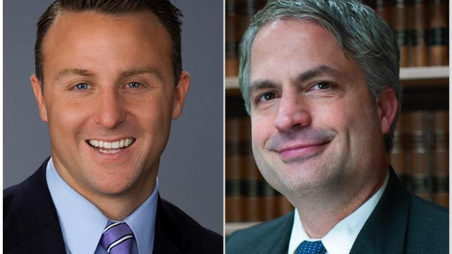J Hanley, left, a Republican, and Democrat Paul Carpenter are vying to be elected Winnebago County state's attorney on Tuesday.
