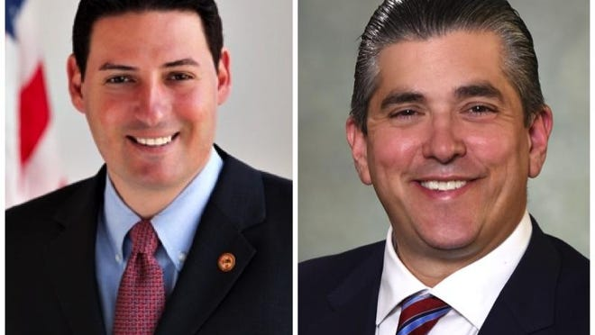 State Rep. John Cabello, left, R-Machesney Park, and attorney Dave Vella both announced their candidacy for the 68th District Illinois House of Representatives on Wednesday, Sept. 4, 2019.