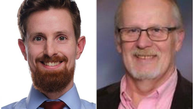 Democrat Rob Young, left, is challenging incumbent Republican Fred Wescott for Winnebago County Board District 17.