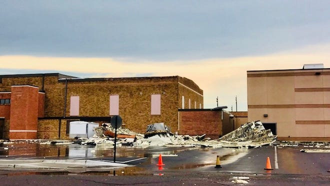 Portions of the YME Auditorium and library roof blew off during the storm that hit last Saturday.