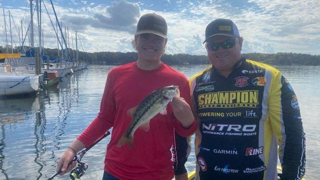 Carson Kale met pro angler Shane Lineberger on Friday at Lake Norman's Fishing for a Cure fundraiser for the Relay for Life