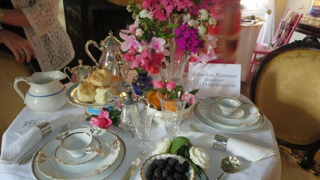 """A Southern Breakfast by Rita Durio Interiors is the theme for this tabletop on display during the Alexandre Mouton House museum's fundraiser, """"Vignettes - The Art of the Tabletop,"""" on Tuesday, April 1, 2014."""