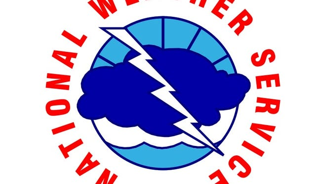 A file photo of the National Weather Service logo. Forecasters say a light storm dropped little snow in the Tahoe area.
