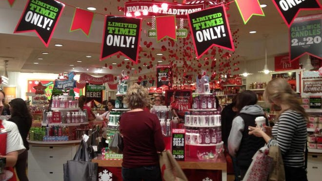 Black Friday shoppers take advantage of the sales at Bath & Body Works at the Palisades Mall in West Nyack on Nov. 23, 2012.  ( Carucha L. Meuse / The Journal News )