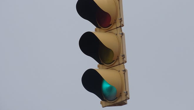 The traffic light at the intersection of North Sandusky Avenue and Irving Street in Bucyrus is expected to be re-installed soon.