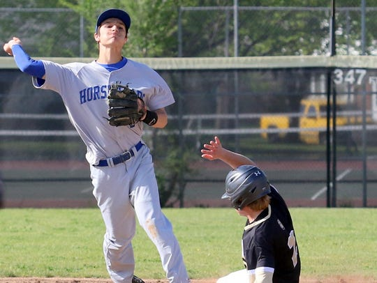 Horseheads shortstop Nico Limoncelli throws to first