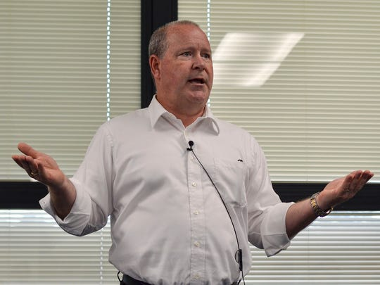 Rep. Larry Bucshon speaks at a town hall in Terre Haute, In.