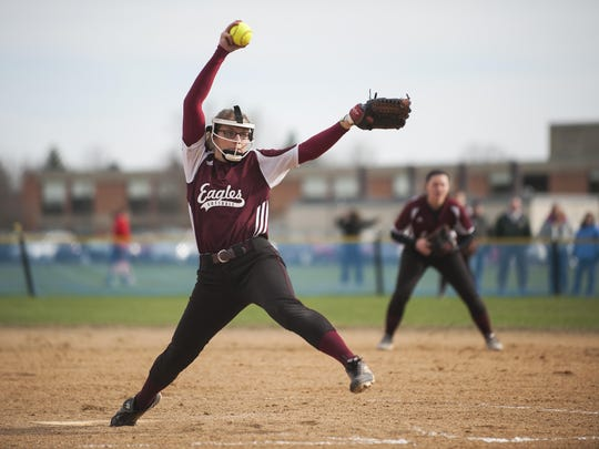 Mount Abraham pitcher Rachel McCormick delivers a pitch during a high school softball game in April.