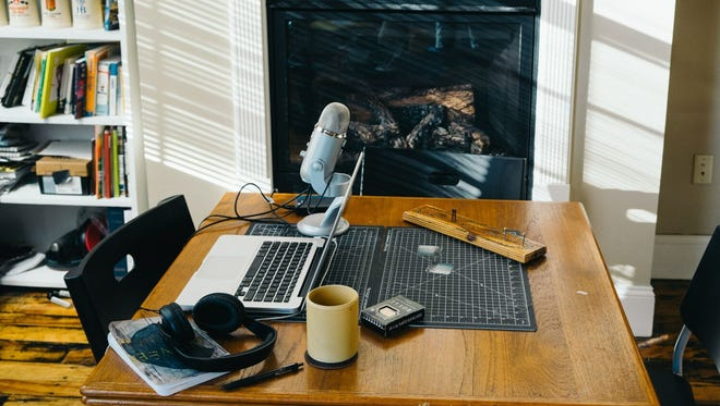 The She Explores podcast work space.