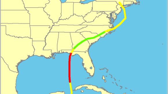 Track of Tropical Storm Agnes