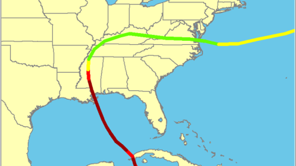 Track of Hurricane Camille