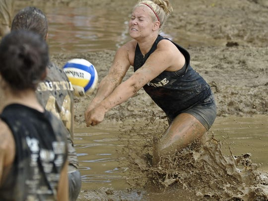 A mud volleyball tournament is one of the attractions