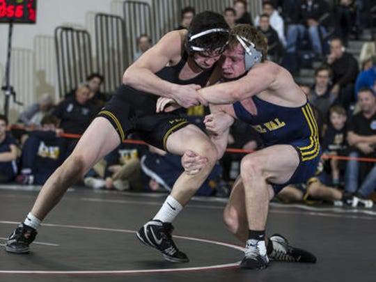 Delaware Valley's Chase Bauberger  wrestles Hanover Park's Nick Zarra at 152 pounds during their Group II championship match on Sunday in Toms River.