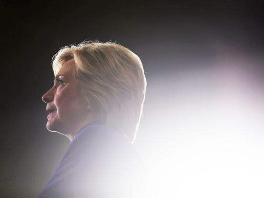 Hillary Clinton addresses the crowd during a rally at the Frontline Outreach and Youth Center in Orlando, Fla., on Wednesday, Sept. 21, 2016.