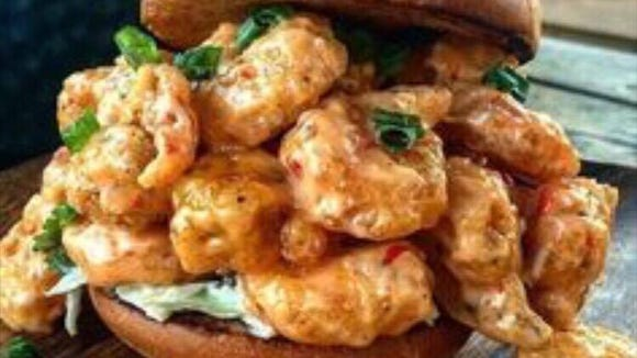 This bang bang shrimp po'boy is one of many planned for Zee Baloch's new restaurant.