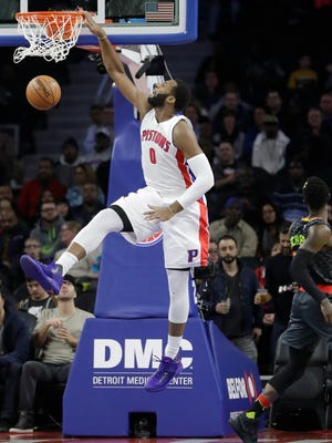 Pistons center Andre Drummond dunks during the first half  against the Atlanta Hawks on Wednesday, Jan. 18, 2017 at the Palace.