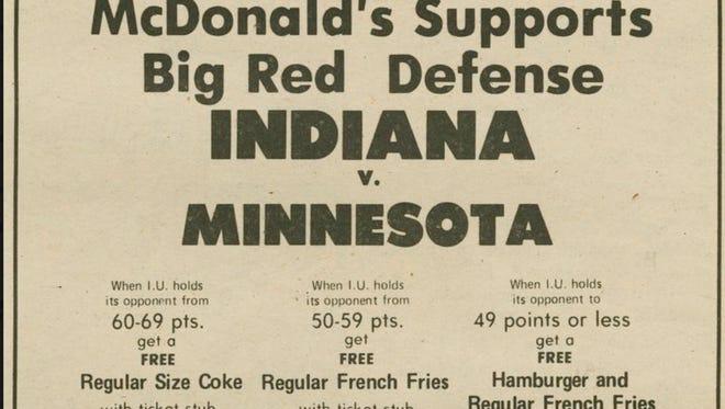 Indiana beat Iowa 102-49 on Jan. 11, 1975 and won Hoosiers fans free McDonalds