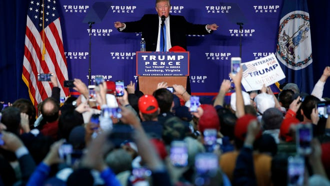 Republican presidential candidate Donald Trump speaks at a rally Monday, Nov. 7, 2016 in Leesburg, Va.