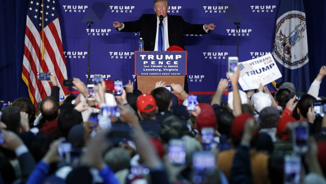 Donald Trump, who won the presidential election Tuesday, speaks at a rally earlier this month.