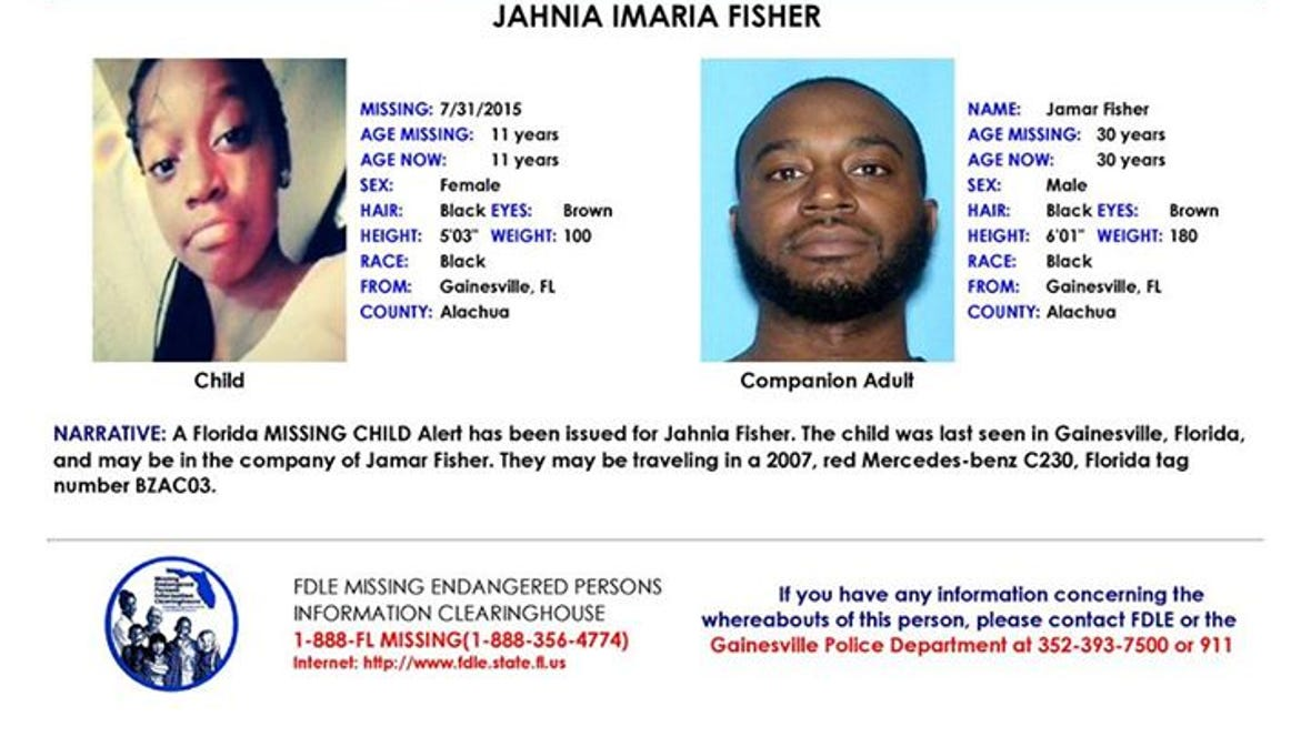 11-year-old Jahnia Imaria Fisher has been reported