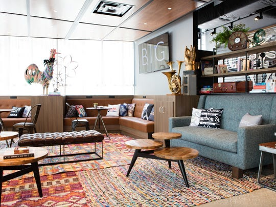 The living room of the Moxy location in New Orleans.