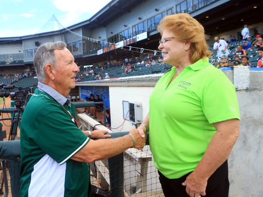Jerry Funk shakes hands with CCISD Athletic Director Brenda Marshall on Saturday, Saturday, June 24, 2017, at Whataburger Field in Corpus Christi.