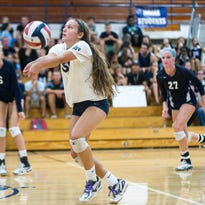 Nicolet senior Laura Keyser returns a serve during a home volleyball match against Menomonee Falls on Aug. 24. Nicolet lost to Falls.