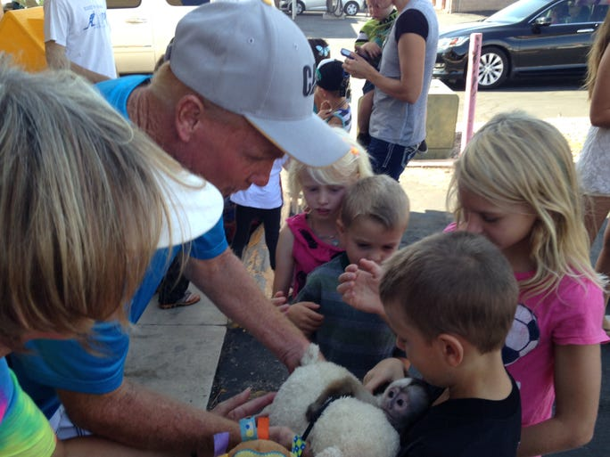 Children crowd around Mojito, a 7-month-old cinnamon Capuchin monkey, at a Roos N' More zoo fundraiser at Perks! Espresso & Smoothies on Saturday, Aug. 23, 2014.