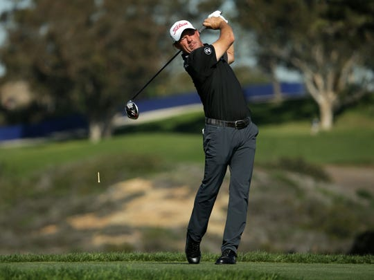 Alex Cejka, seen her playing a shot during the first round of the 2019 Farmers Insurance Open, was disqualified from the Honda Classic during Thursday's first round.