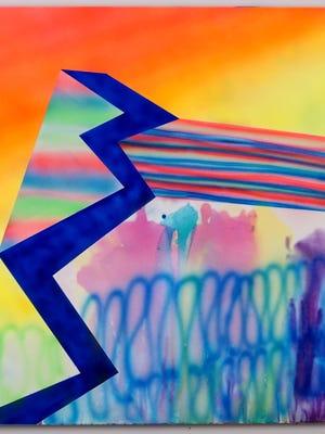 """Alex Blau, """"Flamethrower,"""" 2017, acrylic on canvas on display at Zeitgeist Gallery."""