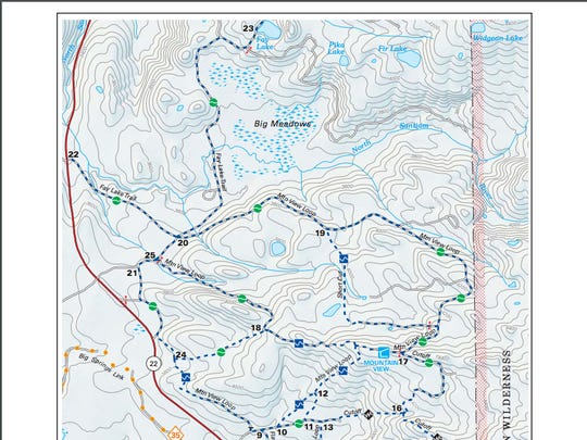 Map to Fay Lake on Maxwell Sno-Park Trail network.