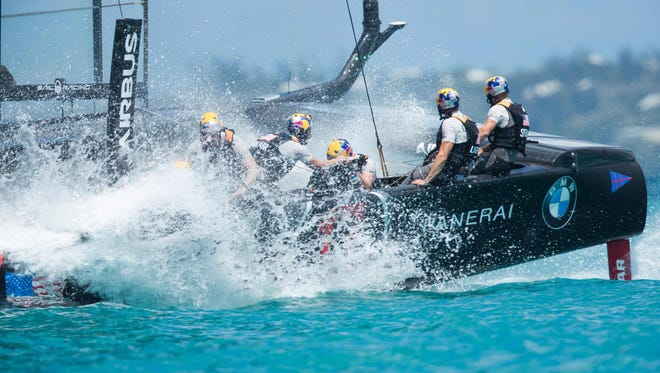 Oracle Team USA, skippered by Jimmy Spithill, competes during the second day of the America's Cup on May 28 on Bermuda's Great Sound.