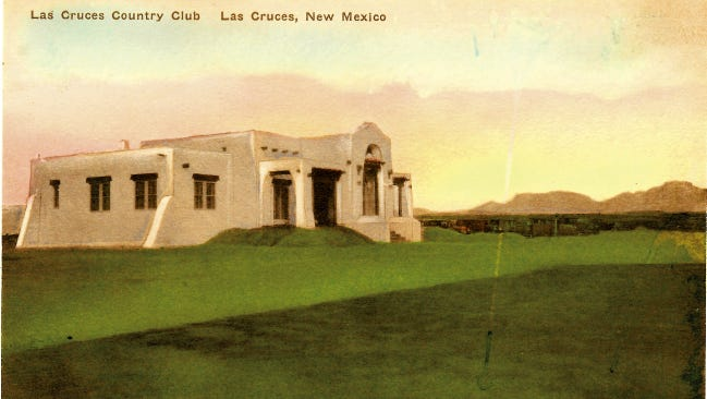 A vintage postcard depicting the Las Cruces Country Club.