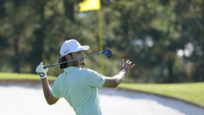 Abraham Ancer made a par after this finish off the No. 3 tee on Friday afternoon. The Masters Tournament rookie has made 12 birdies in two rounds so far and sits at 9 under halfway through the tournament.