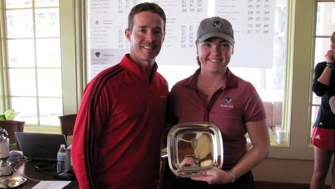 Florida Tech golfer Noelle Beijer ties tournament record with a 4-under 68 in final round to earn her first collegiate victory.