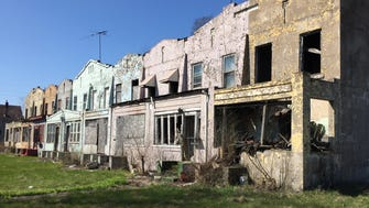 A block of abandoned homes on the northside of Gary, Indiana.