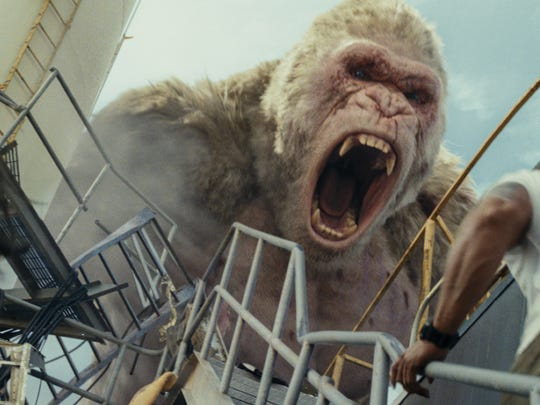 "A plus-sized gorilla goes on a rampage in ""Rampage."""
