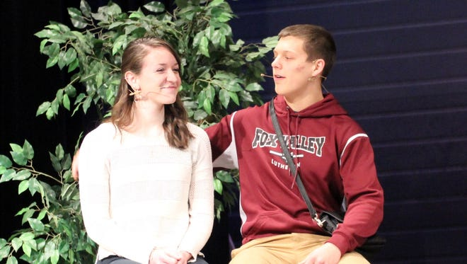 "Jordyn Ulman (left), in the role of Liesl, and Paul Kramer, as Rolf, rehearse for Fox Valley Lutheran High School's upcoming production of ""The Sound of Music."""