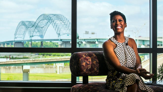 April 27, 2017 - MSNBC host and former Today show anchor Tamron Hall smiles during an interview prior to delivering her keynote speech at the Women's Foundation luncheon at the Cook Convention Center on Thursday. Hall, whose sister was murdered years ago, spoke to the audience about how to be an advocate for survivors of violent crime and domestic violence.