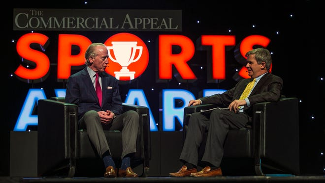 Football great Archie Manning, left, speaks on stage with sports columnist Geoff Calkins during The Commercial Appeal Sports Awards on June 9, 2017, at the Orpheum Theatre.